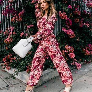 NWOT Zara floral two piece silk suit